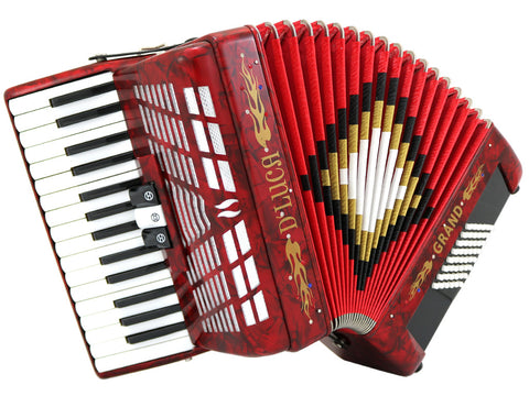 D'Luca Grand Piano Accordion 3 Switches 30 Keys 48 Bass with Case and Straps, Red