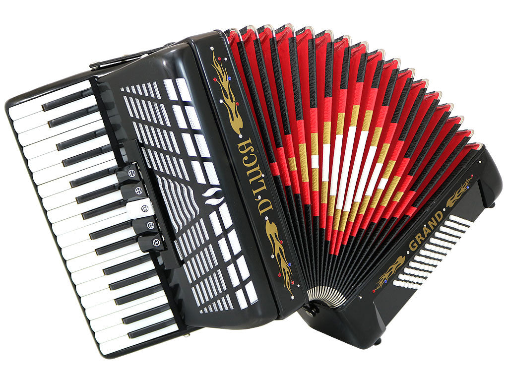 D'Luca Grand Piano Accordion 5 Switches 34 Keys 72 Bass with Case and Straps, Black