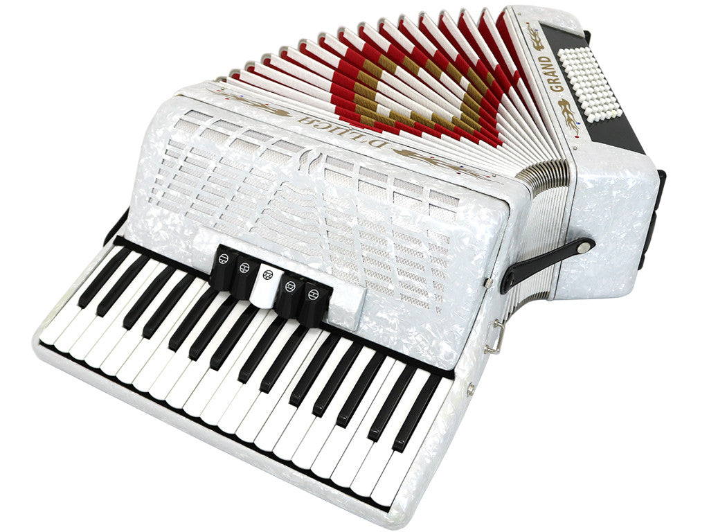 D'Luca Grand Piano Accordion 5 Switches 34 Keys 72 Bass with Case and Straps, White
