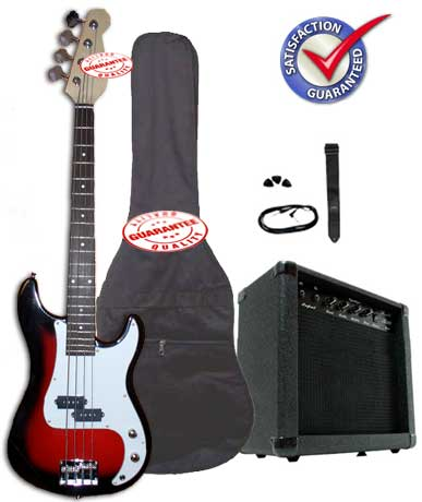 Electric Bass Guitar Pack with 20 Watts Amplifier, Gig Bag, Strap, and Cable, Cherryburst, PLAYBS-TR