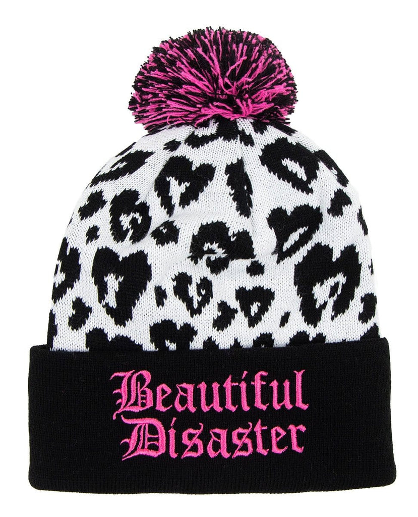 Snow Leopard Poof Beanie