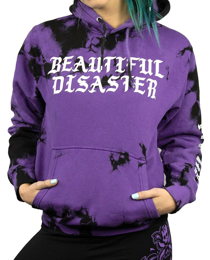 You Don't Know My Story Tie Dye Pullover Hoodie - Purple/Black