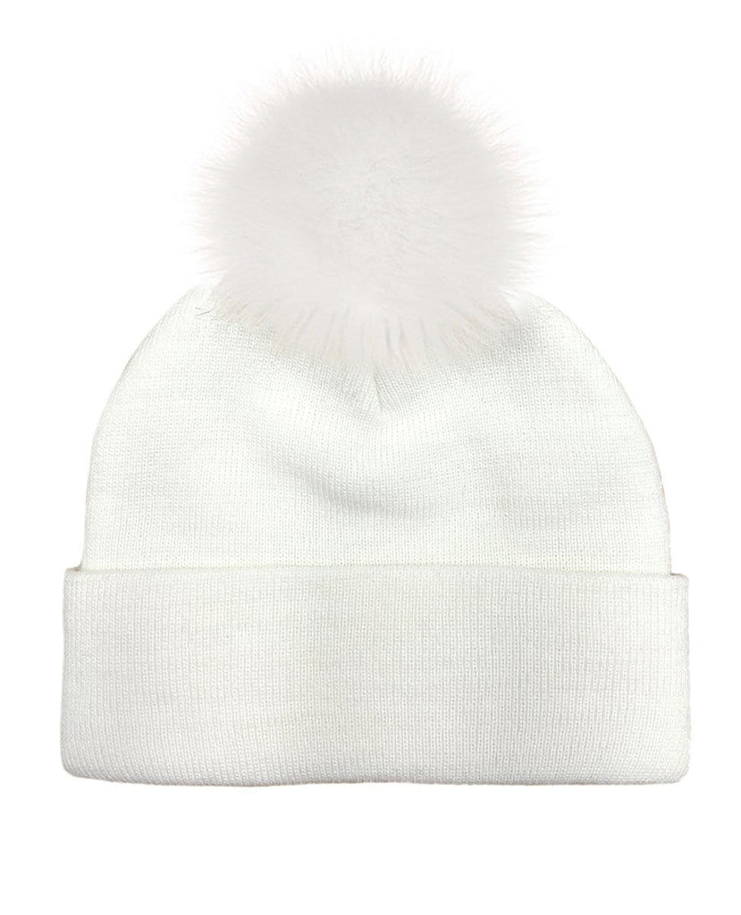 Studded Poof Beanie - White