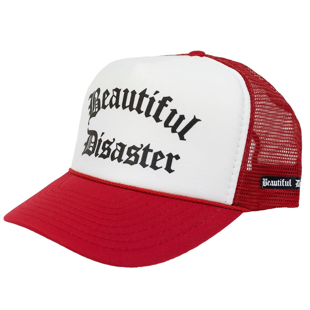 Beautiful Disaster Trucker Hat - Black/White/Red