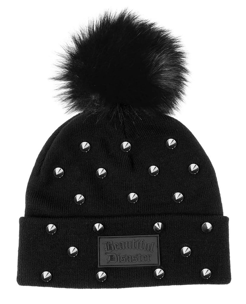 Studded Poof Beanie - Black