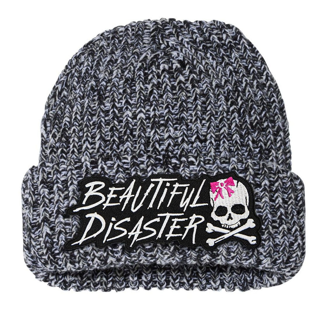 Reckless Chunky Knit Beanie - Black/White
