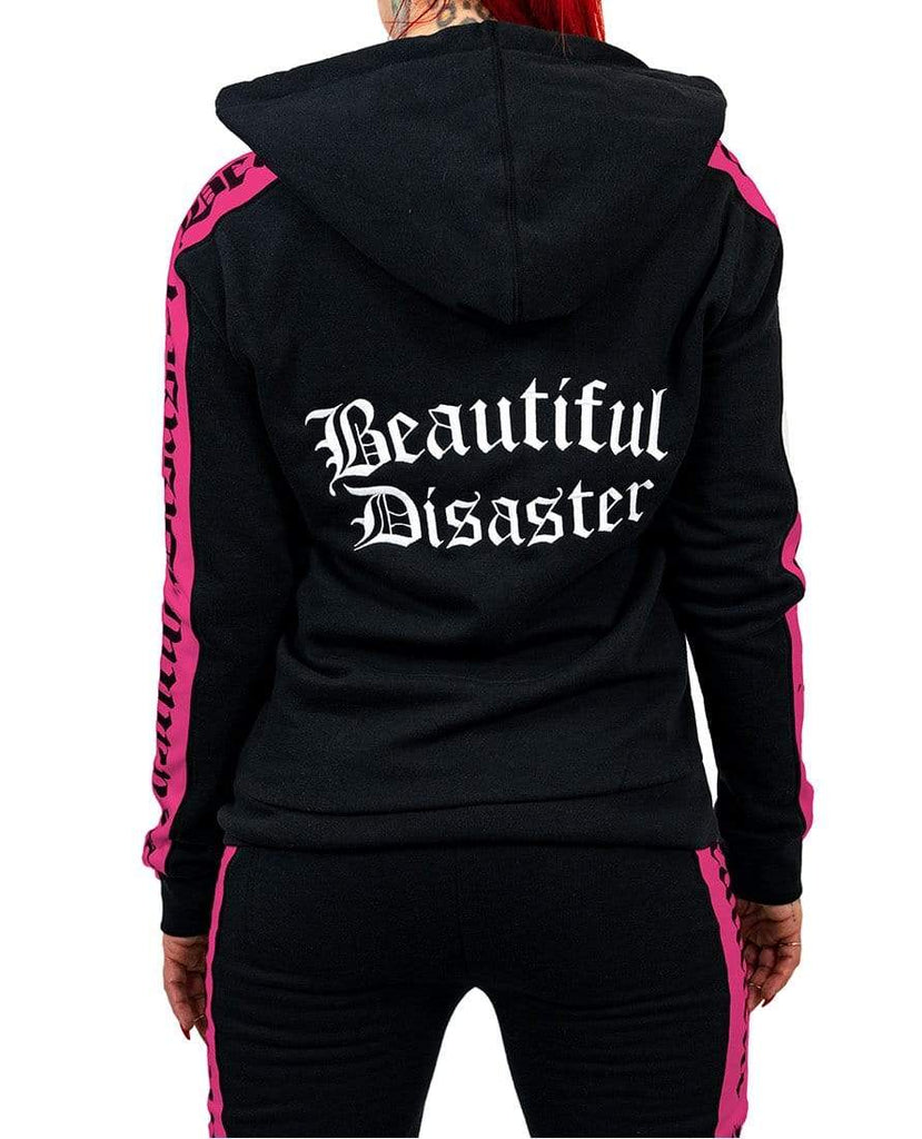 Sweatsuit Embroidered Zip Hoodie - Black/Pink