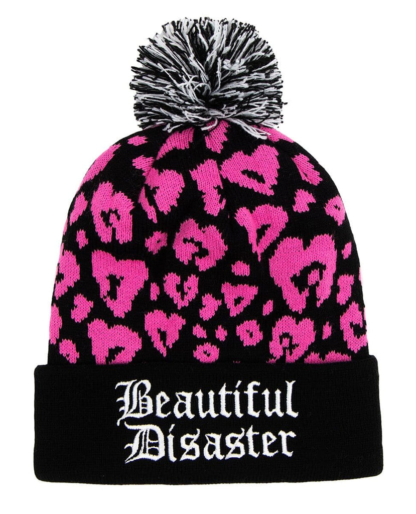 Pink Leopard Poof Beanie