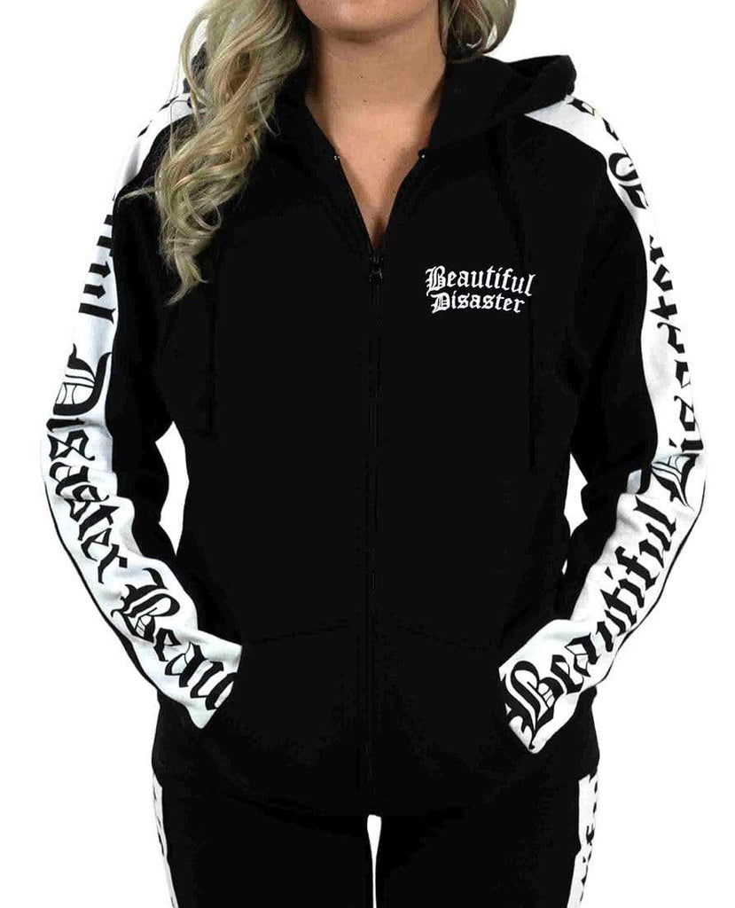 Sweatsuit Embroidered Zip Hoodie - Black/White