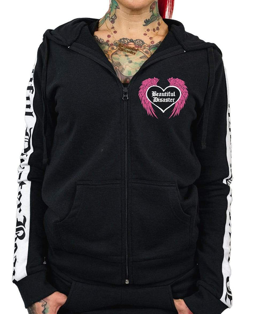 Angel Zip Hoodie - Black/White - Pink