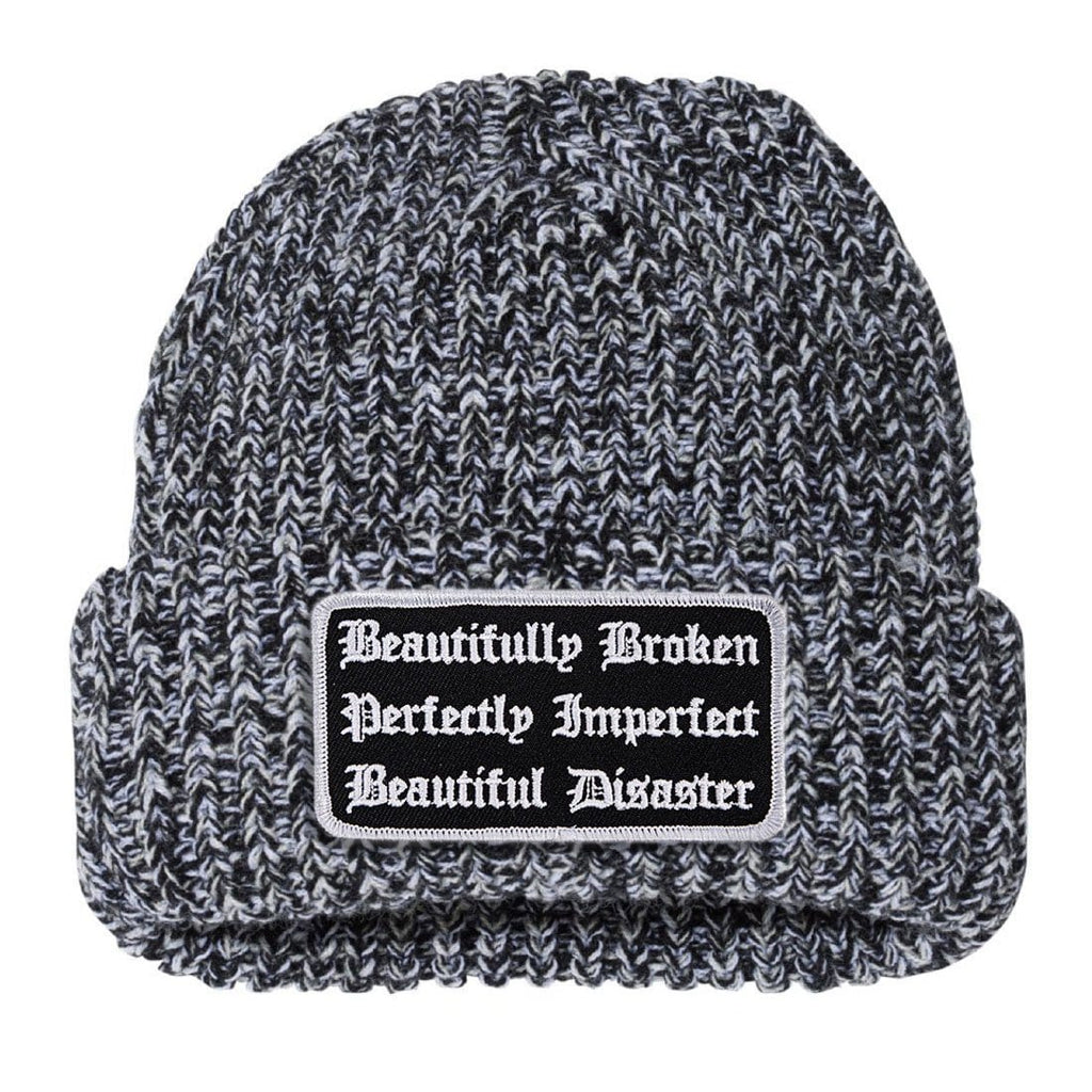 Defined Chunky Knit Beanie - Black/White