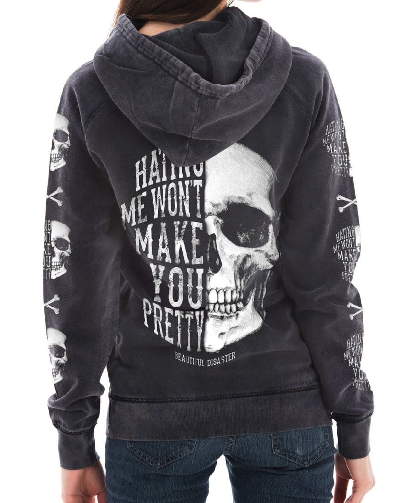 Hating Me Skull Mineral Wash Pullover Hoodie