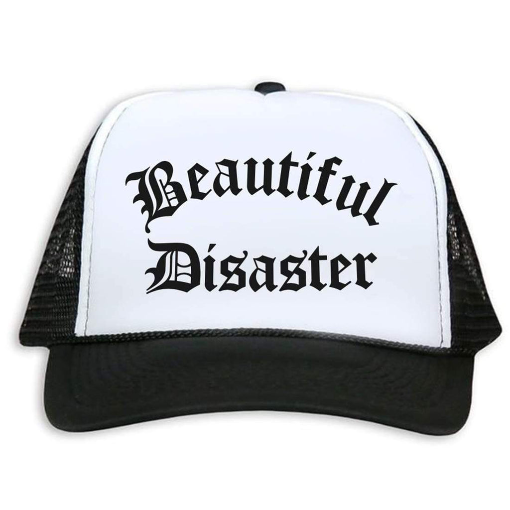 Beautiful Disaster Trucker Hat - Black/White