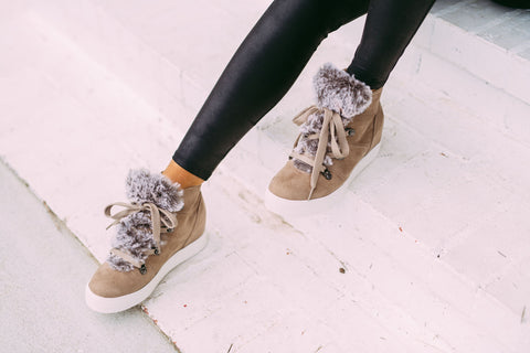 Shauna Sneaker Wedges- Taupe