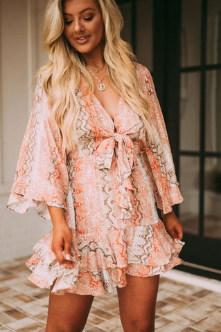 Snake Print Bell Sleeve Dress- Coral
