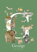 Load image into Gallery viewer, Personalised Animal Letter G Children's print