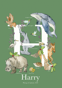 Personalised Animal Letter H Children's print