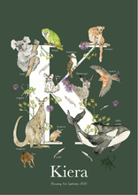 Load image into Gallery viewer, Personalised Animal Letter K Children's print