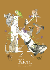 Personalised Animal Letter K Children's print