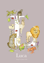 Load image into Gallery viewer, Personalised Animal Letter L Children's print