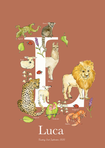 Personalised Animal Letter L Children's print