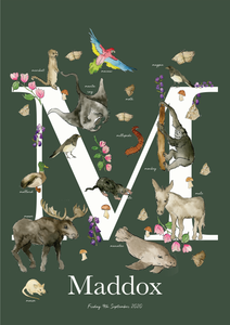 Personalised Animal Letter M Children's print