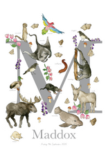 Load image into Gallery viewer, Personalised Animal Letter M Children's print