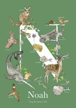 Load image into Gallery viewer, Personalised Animal Letter N Children's print