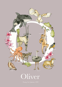 Personalised Animal Letter O Children's print