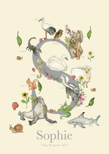 Load image into Gallery viewer, Personalised Animal Letter S Children's print