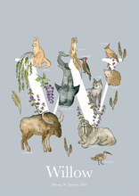 Load image into Gallery viewer, Personalised Animal Letter W Children's print