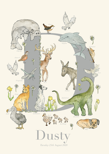 Personalised Animal Letter D Print