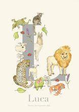 Load image into Gallery viewer, Personalised Animal Letter L Print