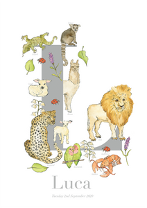 Personalised Animal Letter L Print