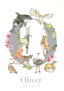 Personalised Animal Letter O Print