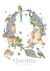 Personalised Animal Letter Q Print