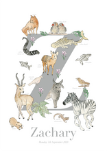 Load image into Gallery viewer, Personalised Animal Letter Z Print