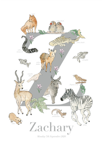 Personalised Animal Letter Z Print