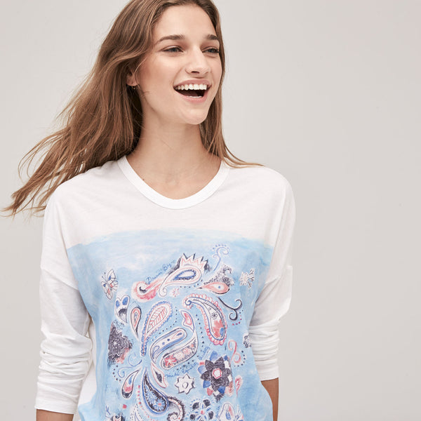 Women's Aquarelle Paisley Relaxed Long Sleeve Tee