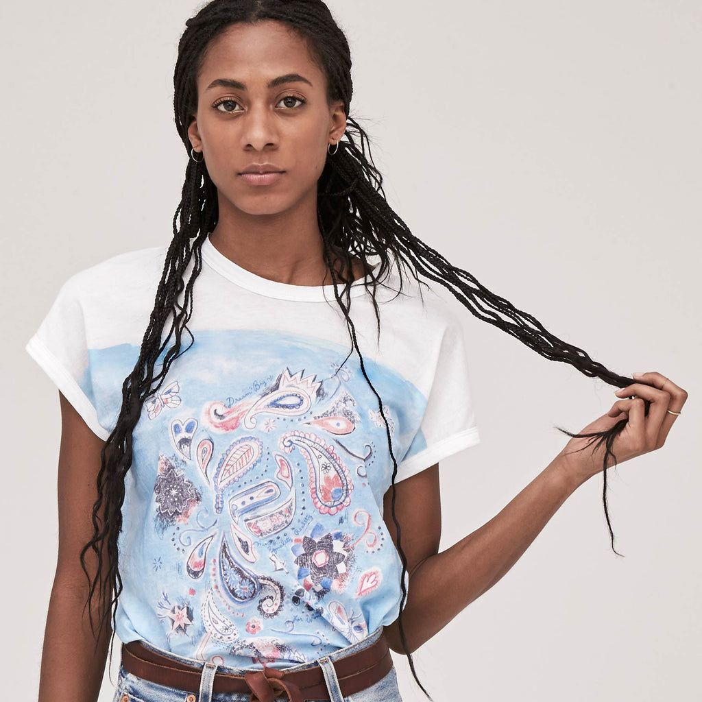 Women's Aquarelle Paisley Draped Dolman Tee