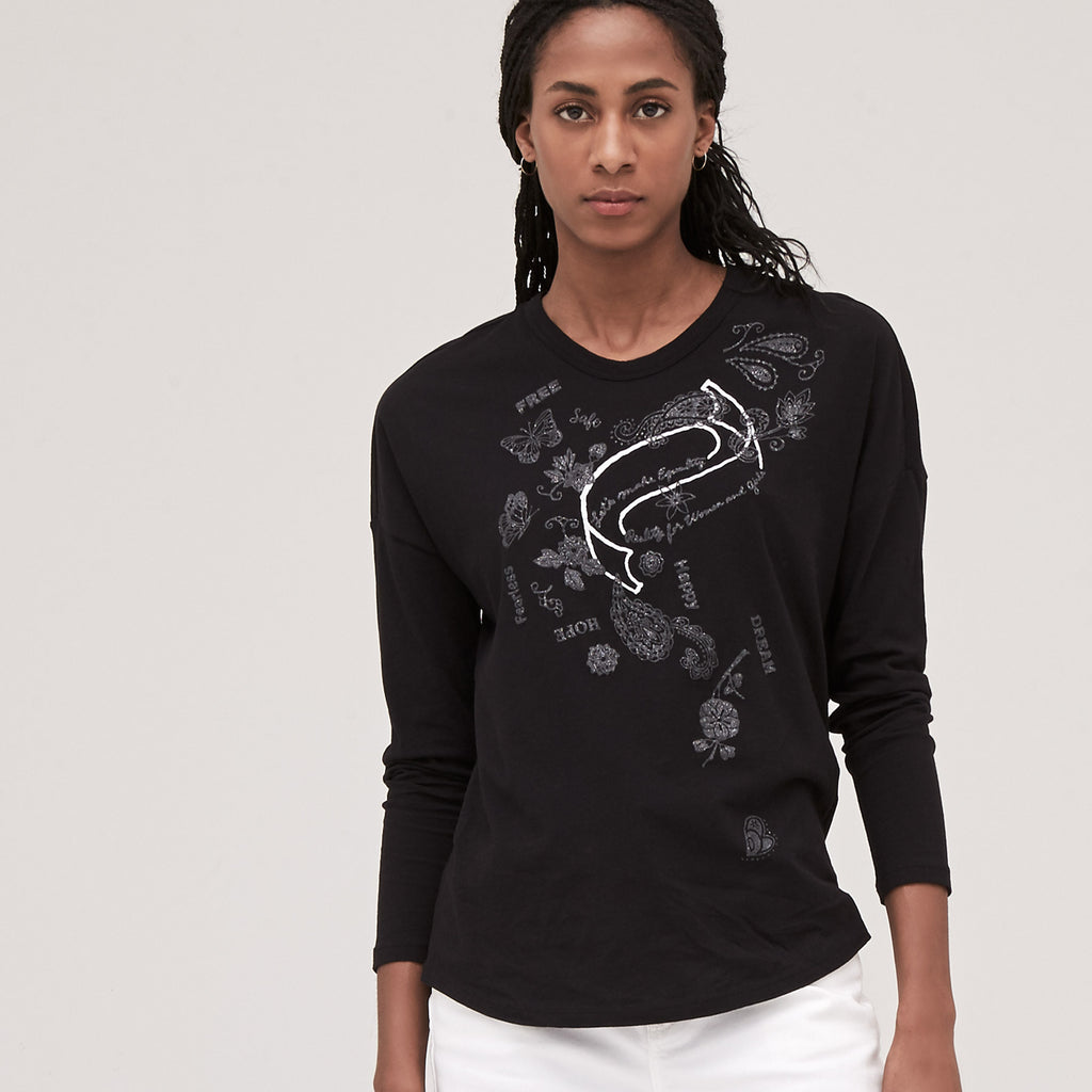 Women's Glam Paisley Relaxed Long Sleeve Tee