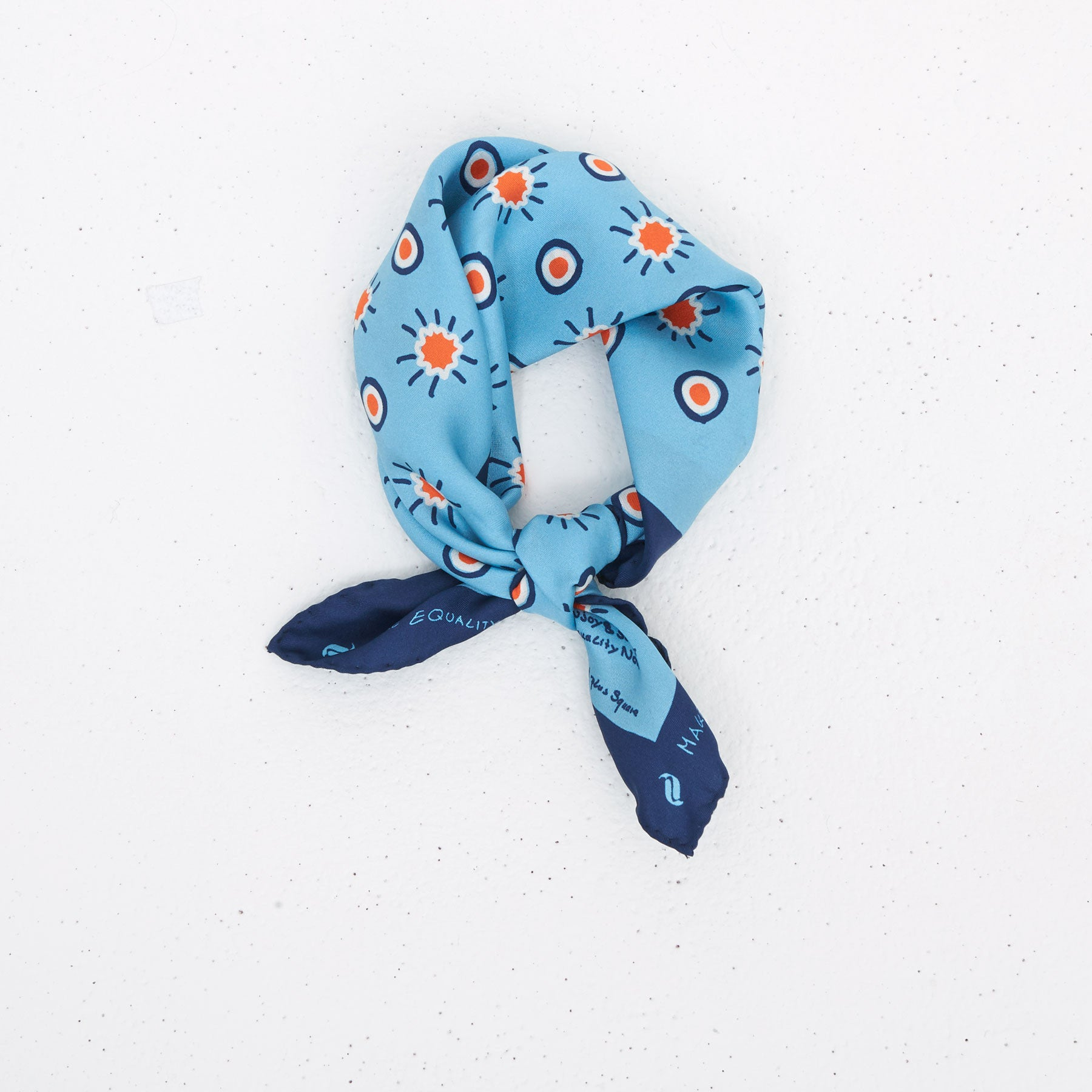 Sunflower Dot Silk Bandana – Cerulean