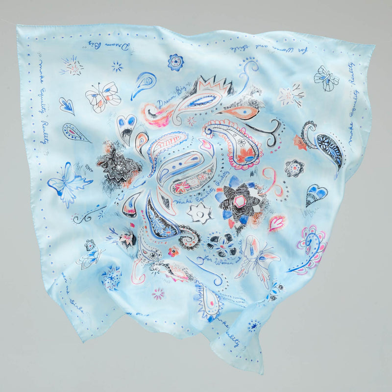 BUTTERFLY PAISLEY SILK SHAWL - AIR