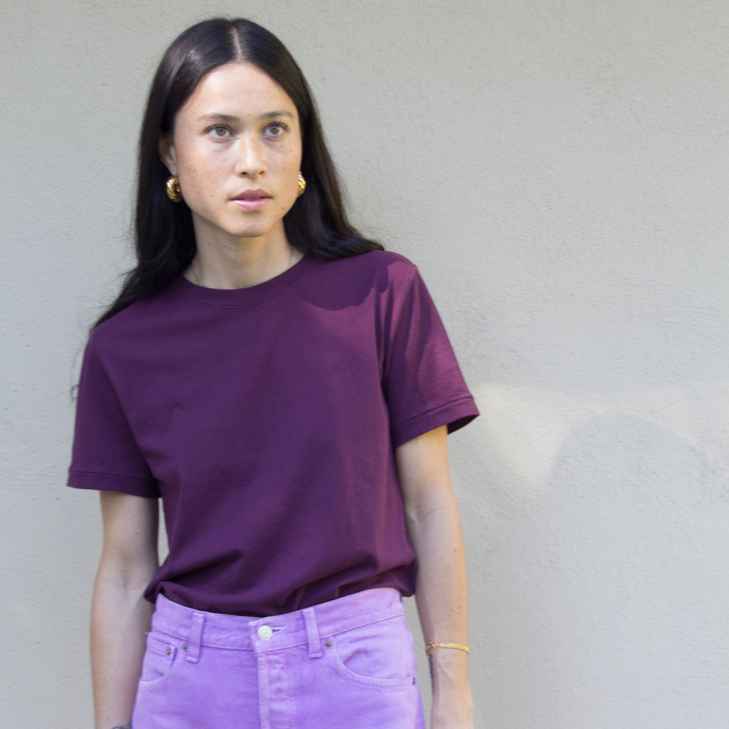 WOMAN BASIC BOXY - PLUM