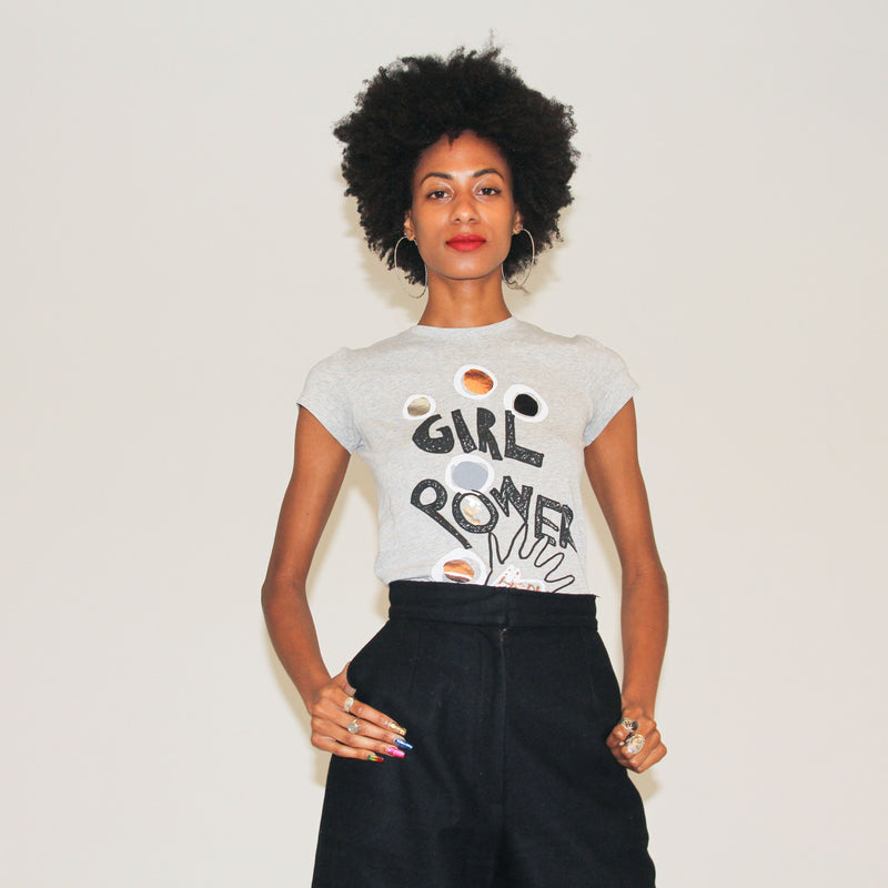 GIRL POWER TEE - HEATHER GREY