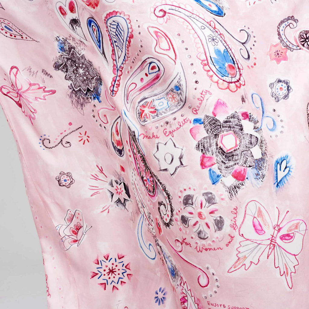 BUTTERFLY PAISLEY SILK SHAWL - PINK