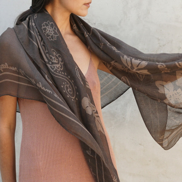 FEARLESS CASHMERE SHAWL - OLIVE NIGHTS