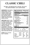Classic chili emergency survival food nutritional facts panel