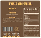 Freeze dried red bell peppers nutritional facts panel