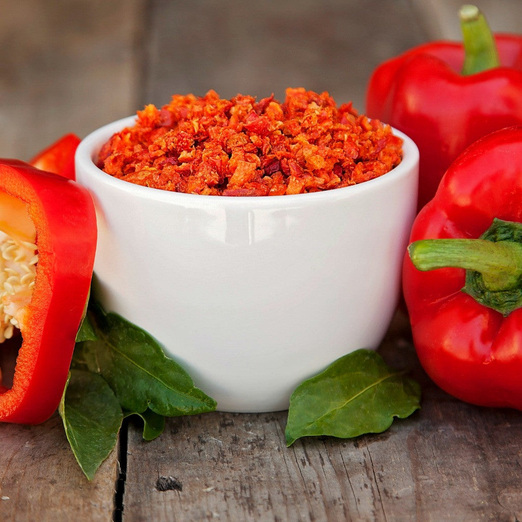 Freeze dried red bell peppers for emergency food supply